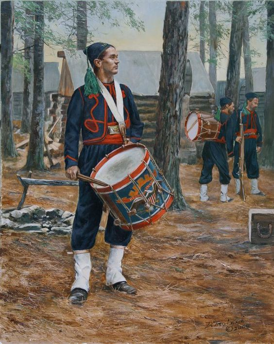 Union; 164th New York Volunteers , Corcoran's Irish Legion, Drummer, 1864 by Don Troiani. Note the green tassel on the fez.