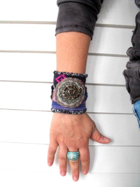 Eco Cuff BRACELET upcycled recycled repurposed woven by zasra, $45.00