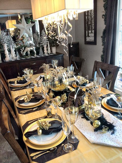 Dining Delight New Year S Eve Gold Black Tablescape New Years Eve Party Ideas Decorations New Years Eve Table Setting New Years Eve Decorations