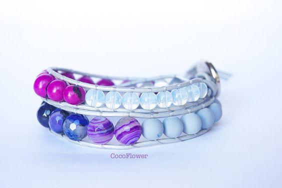 fête maman, bracelet violet, mode boho, bijoux pierres fines, bijou agate : Bracelet par cocoflower