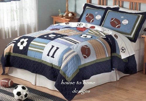 All State Sports Quilt Set . $99.99. What little sports fan doesn't dream of going All State? No matter the season, he'll be ready to play with this versitile quilt and sham ensemble! Featuring sport appliques among shades of navy, light & sky blue, tan, olive green, taupe and white. Quilt set includes quilt and two standard shams (one sham with twin quilt). Note: there has been a slight design change to this pattern. The #11 applique is now a #17, and some of the patchwork b...