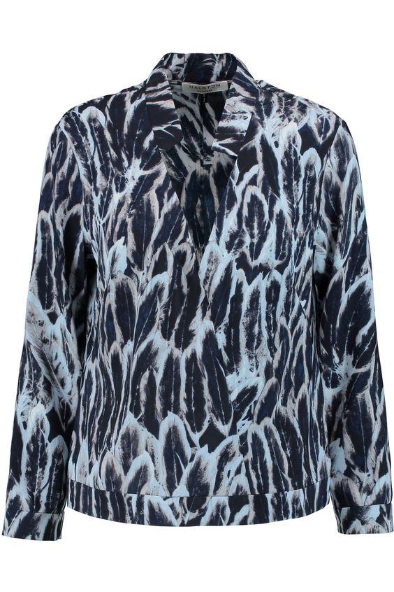 HALSTON HERITAGE Printed Satin Blouse. #halstonheritage #cloth #blouse