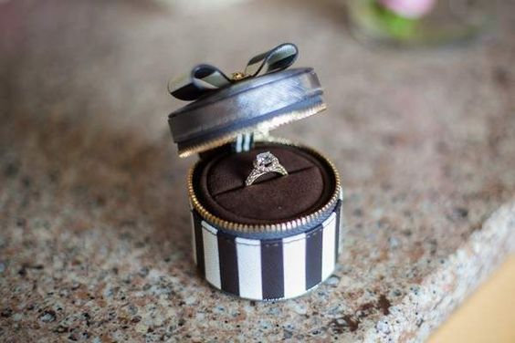 black and white striped ring box