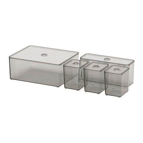 Godmorgon Box With Lid Set Of 5 Smoked Ikea Ikea Godmorgon Ikea Box With Lid