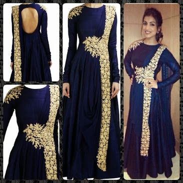 Navy Blue Banglori Silk Anarkali Suit - Women | Anarkali Dresses