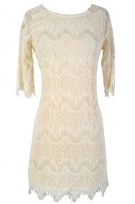 Vintage-Inspired Lace Overlay Dress in Ivory