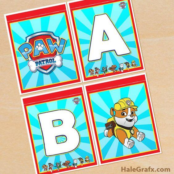 Free printable paw patrol alphabet banner pack paw patrol printables