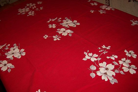 For sale at Retrophoria.com, $65.00 - wilendur vintage tablecloth with white…