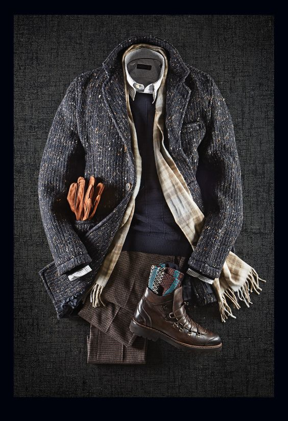Circolo Donegal Overcoat: $798 Z Zegna Jacquard Check Knit: $450 Corneliani Polka Dot Shirt: $318 L.B.M. 1911 Mini Check Casual Pants: $328 Giulio Moretti Leather Boots: $450 Pantherella Wool Socks: $38 Van Gils Suede Gloves: $135 Begg & Co. Lambswool & Angora Scarf: $138