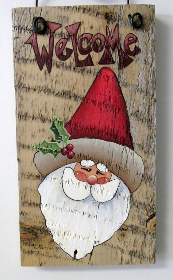Hand painted barn wood and welcome signs on pinterest for Christmas art painting ideas