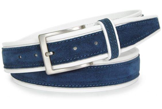 Ledergürtel aus Weiß VollRindleder und Blau Veloursleader 4cm von designer Acciaio Alessandro | made in Italy