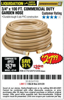 Greenwood 3 4 In X 100 Ft Commercial Duty Garden Hose For 27 99 In 2020 Harbor Freight Tools Garden Hose Hose