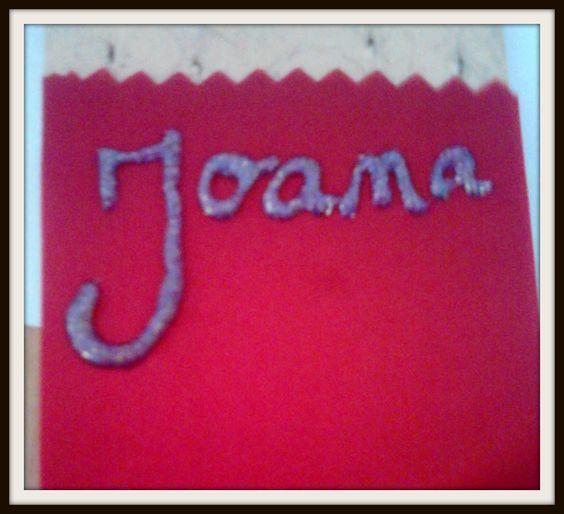 Pintura em tecido * Fita académica * Nome em glitter *