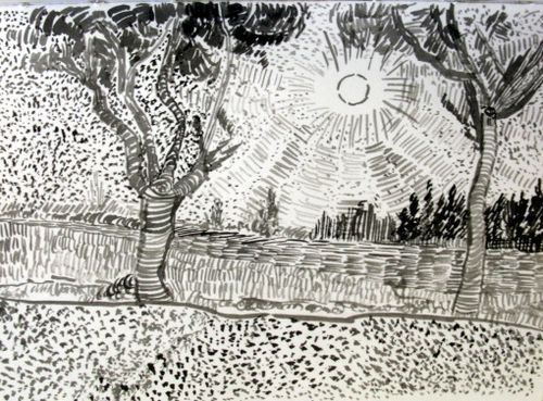 Line Drawing By Vincent Van Gogh : Van gogh tree drawings google search illustration