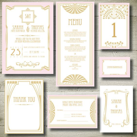 GREAT GATSBY Personalised Invitation Printable Party Package