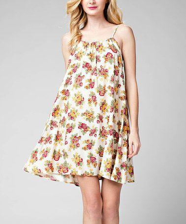 Loving this Cream Floral Shift Dress on #zulily! #zulilyfinds