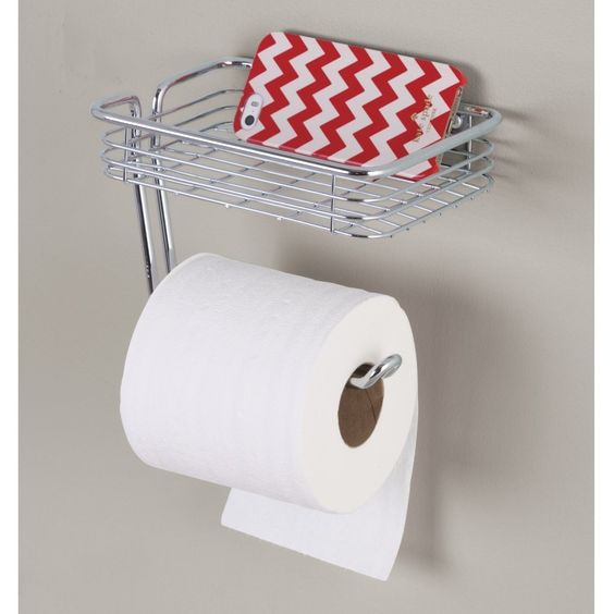 InterDesign 69150EU Classico WC-Papierrollenhalter mit Regal, Wandmontiert…
