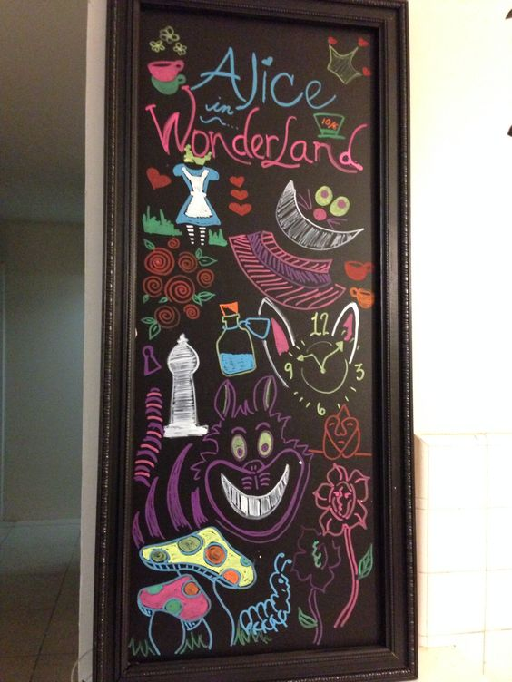 Art wonderland and chalkboards on pinterest Alice and wonderland art projects
