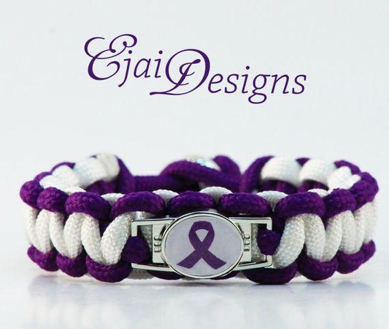 ... Chiari Rett ADHD Purple Ribbon Awareness Paracord Charm Bracelet