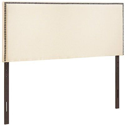 LexMod Region Nailhead Upholstered Headboard, Queen, Ivory