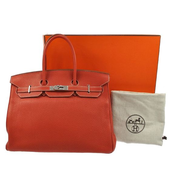 AUTH HERMES BIRKIN ECLAT 35 HAND BAG BICOLOR OR WH TAURILLON LEATHER JT00462
