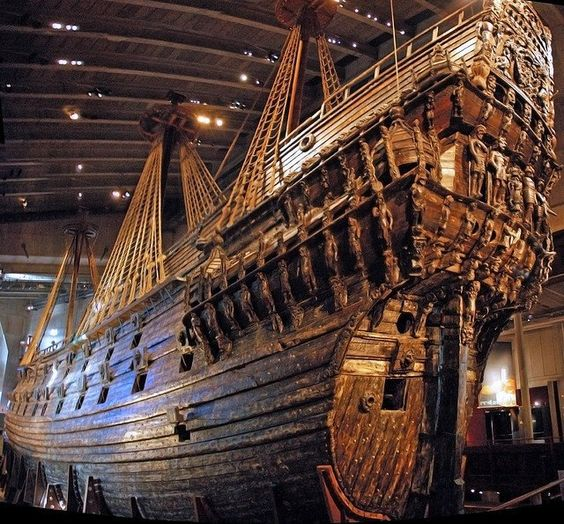 The Vasa Museum in Stockholm, Sweden has on display: 24 april 2011 is the 50th anniversary for salvage of the 17th century warship Vasa, due to the water in the Baltic Sea she was pretty good shape for have been in the water for more than 300 years.