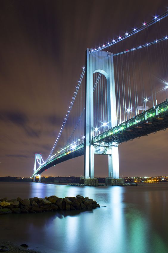 "Verrazano Bridge, NYC  My favourite bridge always brings me home. Lived by it at Frot Hamilton a while and watch clouds form aroudnt he towers, and peregrines nest in it also as if it were a ""cliff""."