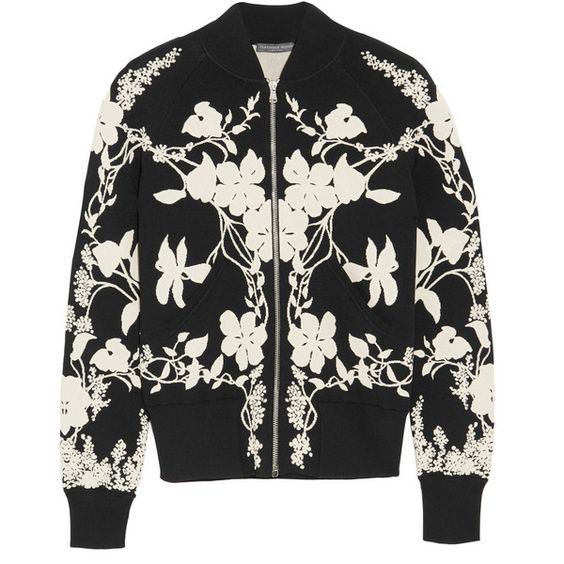 Alexander McQueen Floral-intarsia stretch-knit bomber jacket (€1.995) found on Polyvore featuring women's fashion, outerwear, jackets, coats & jackets, alexander mcqueen, bomber jacket, floral jacket, slim jacket, slim fit flight jacket and floral bomber jacket: