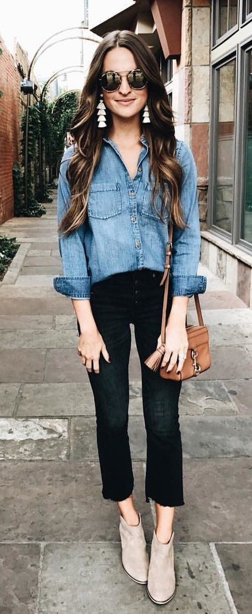 #fall #outfits women's blue chambray button-up shirt, black boot-cut jeans, and beige suede booties outfit