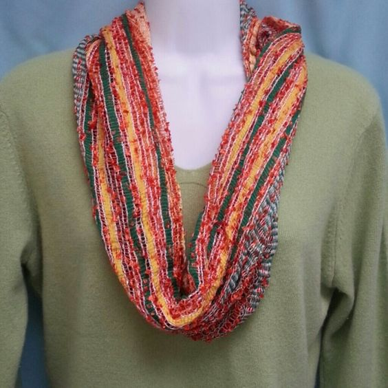 """Charming Charlie scarf Color is called """"citrus splash"""", this is an infinity scarf in yellow, orange and green. It also has a silver rhread running through the fabric for a bit of sparkle.  Scarf colors are a bit lighter than pic. Great fall colors. Charming Charlie Accessories Scarves & Wraps"""