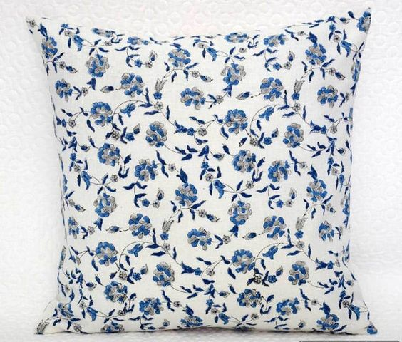 """Indian Cushion Cover Throw Cotton 16""""x 16"""" Inches Pillow Cover Blue Grey Cushion Floral Hand Block Printed Toss Pillow Home Decor Pillows"""
