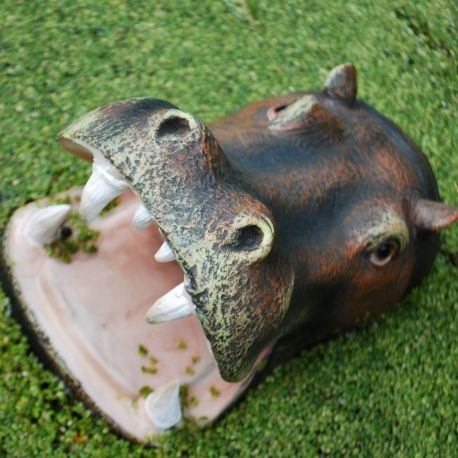 Floating open jaw hippo head pond feature garden ornament for Garden pool ornaments