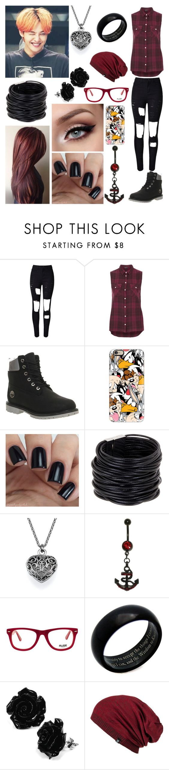 """""""Hangin with G-Dragon♡"""" by cmarnoldrr ❤ liked on Polyvore featuring WithChic, Topshop, Timberland, Casetify, Saachi, Muse and JewelGlo"""