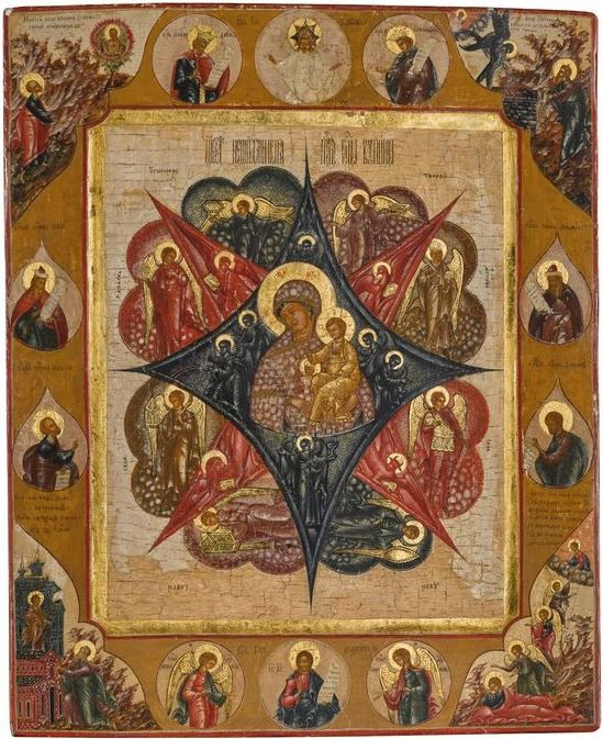 Russian icon of the Mother of God of the Burning Bush