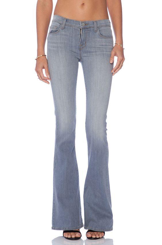 J Brand 1197 Mid-Rise Martini Flare Jeans in Illusion, Size 28
