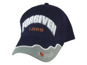 Forgiven, 1 John 1:9 Embroidered Lettering Navy Cap