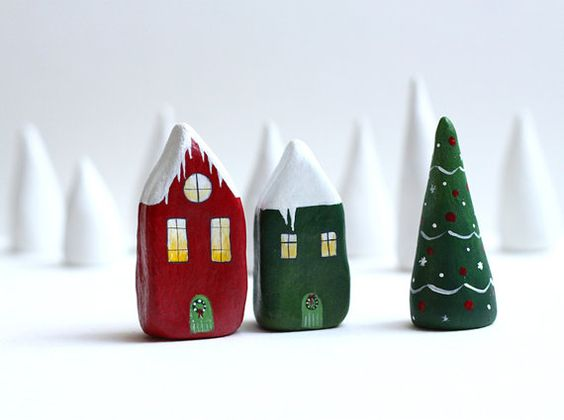 Reserved for Vanessa  Christmas little clay houses  by rodica