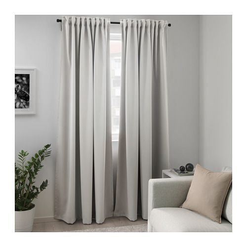 Majgull Light Grey Room Darkening Curtains 1 Pair 145x250 Cm Ikea In 2020 Cool Curtains Room Darkening Curtains Block Out Curtains