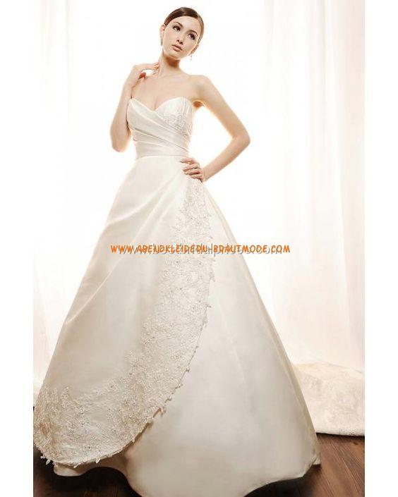 Luxuriöse wunderschöne Brautkleider aus Satin mit Stickerei mit Schleppe Herzausschnitt
