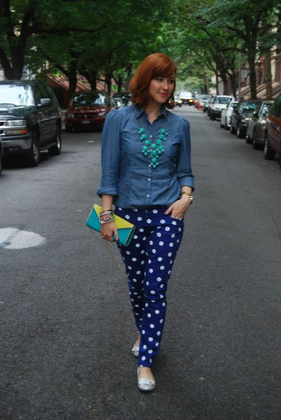Another DIY polka dot jeans outfit option - pair with a chambray shirt and statement necklace.