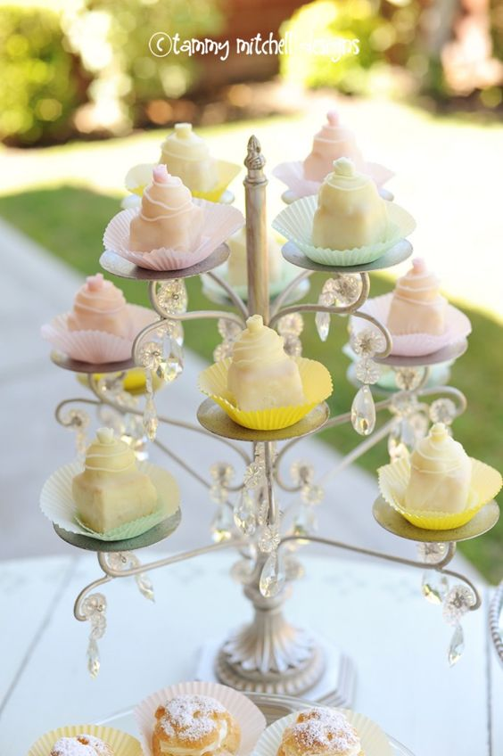 handmade petit fours for baby shower dessert table Sandie Williams English Rose Teas