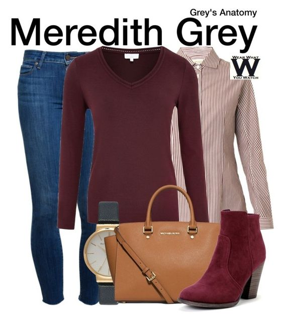 """Grey's Anatomy"" by wearwhatyouwatch ❤ liked on Polyvore featuring Weekend Max Mara, Paige Denim, CC, Olivia Burton, MICHAEL Michael Kors, television and wearwhatyouwatch"