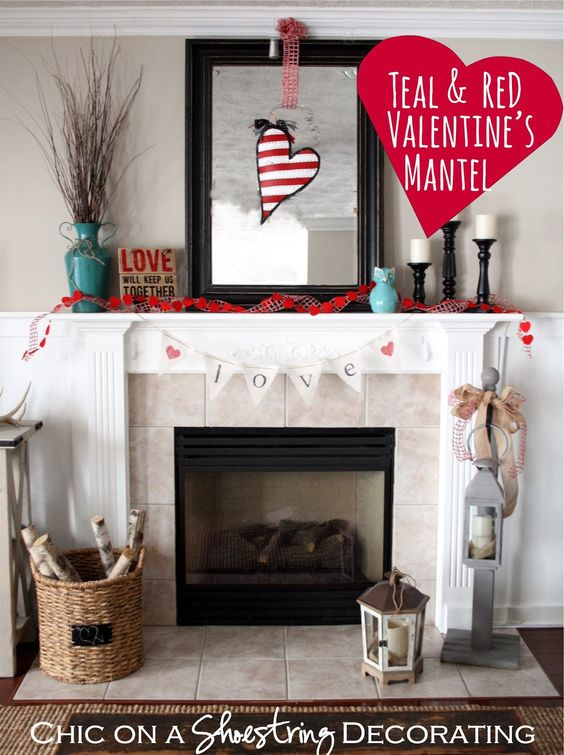 valentine 39 s day mantel teal red at chic on a shoestring