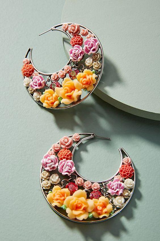 Slide View: 1: Garden Menagerie Hoop Earrings