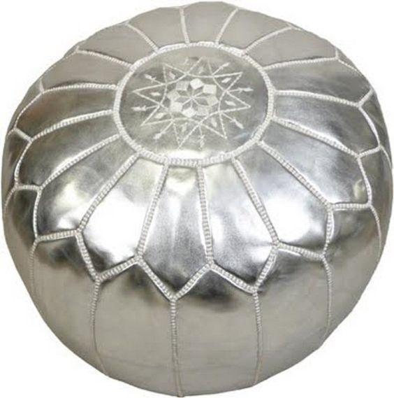 Pouf design faux cuir marocain Argenté, pouf entièrement fait main: Amazon.fr: Cuisine & Maison