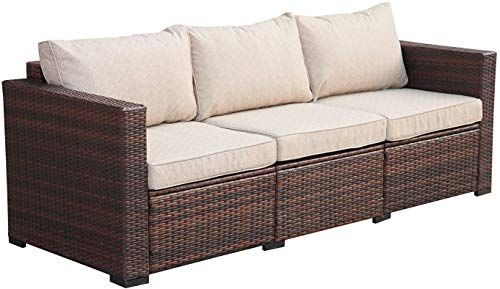Amazing Offer On 3 Seat Patio Wicker Sofa Outdoor Rattan Couch