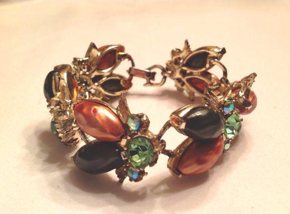 Vintage rhinestone and thermoset bracelet by SweetSongVintage