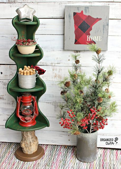 wooden corner shelf christmas tree