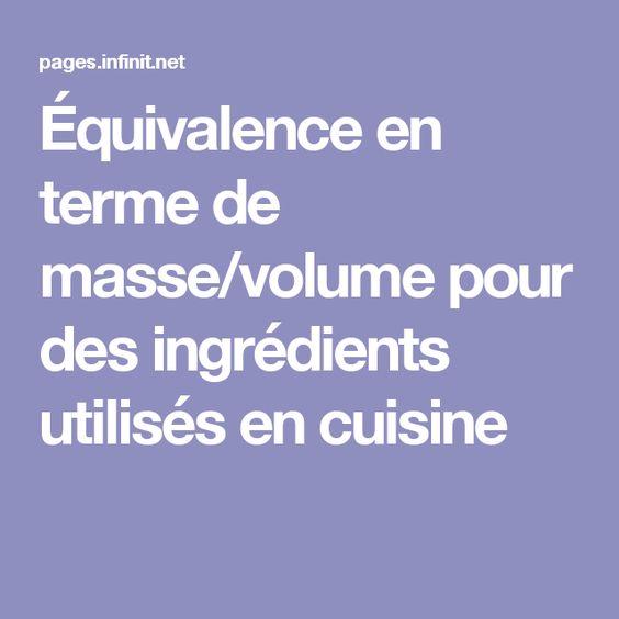 Équivalence en terme de masse/volume pour des ingrédients utilisés en cuisine