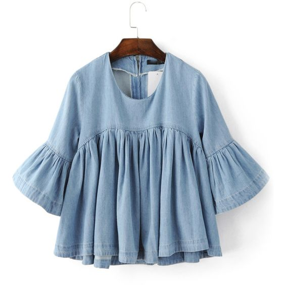 Blue Bell Sleeve Ruffle Denim Doll Blouse ($37) ❤ liked on Polyvore featuring tops, blouses, bell sleeve tops, summer tops, embellished blouse, ruffle sleeve top and collar blouse